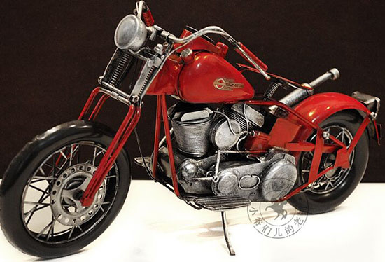 Red Large Scale Handmade Vintage 1936 Harley Davidson Model