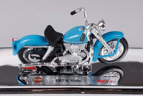 1:18 Scale Blue Maisto Die-Cast Harley Davidson 1952 K Model
