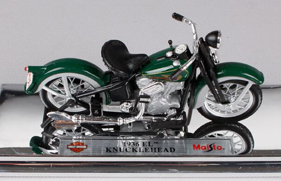 Green 1:18 Die-Cast Harley Davidson 1936 EL KNUCKLEHEAD Model