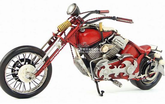 Medium Scale Handmade Red Tinplate 1948 Harley Davidson