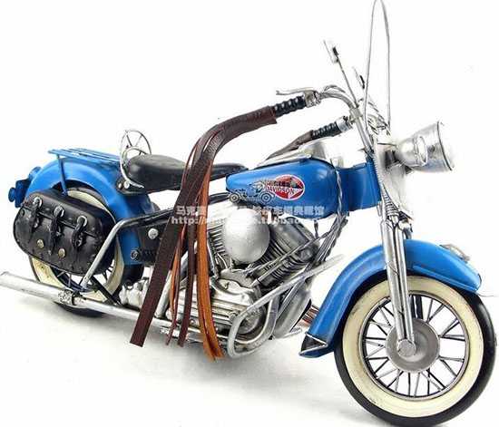 Handmade Medium Scale Blue Tinplate 1966 Harley Davidson FLT
