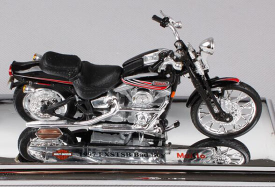 1:18 Black Die-Cast Harley Davidson 1997 FXSTSB Bad Boy