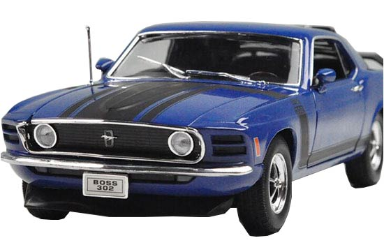 Blue 1:18 Scale Welly Diecast 1970 Ford Mustang Boss 302 Model