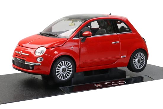 Red 1:18 Scale Welly Diecast 2007 Fiat 500 Model