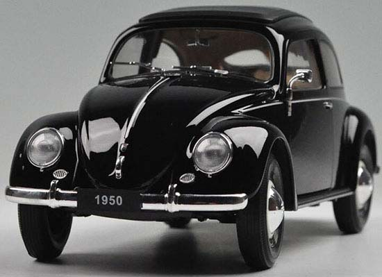 Black 1:18 Scale Welly Diecast 1950 VW Beetle Model