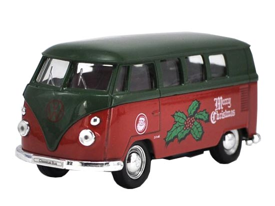 Red-Green 1:36 Merry Christmas Welly Die-Cast VW T1 Bus Toy