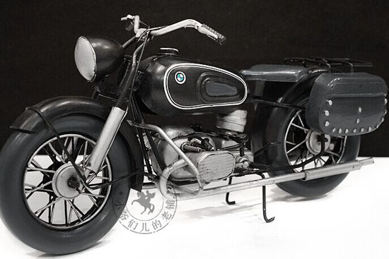 Handmade Black Medium Scale Tinplate 1960 BMW R60 Model