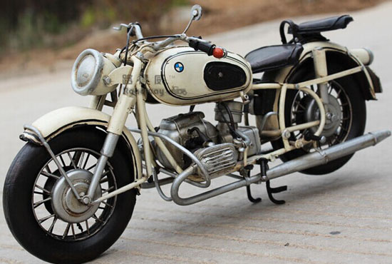 Handmade White Medium Scale Vintage Tinplate 1967 BMW R60-2
