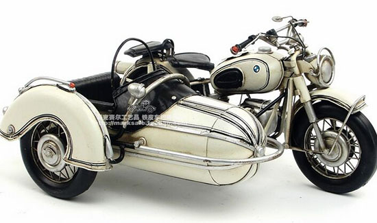 Medium Scale White Handmade Tinplate 1960 BMW R60 Sidecar Model