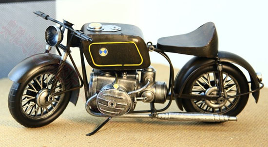 Handmade Large Scale Tinplate Black BMW Motorcycle Model