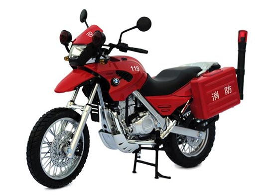 Red / Blue / Yellow 1:12 Scale Die-Cast BMW F650GS Model