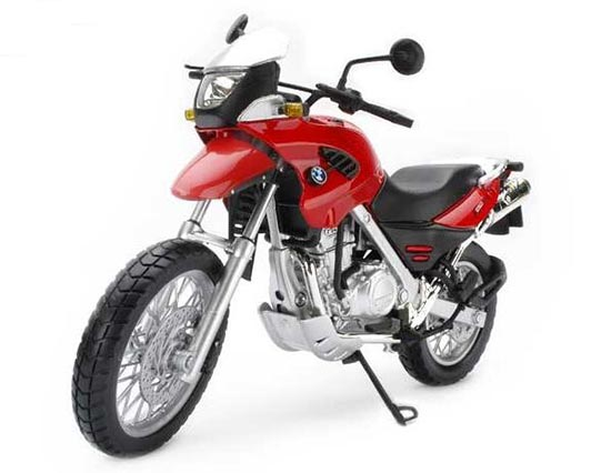 Silver / Black / Red 1:12 Diecast BMW F650GS Motorcycle Model
