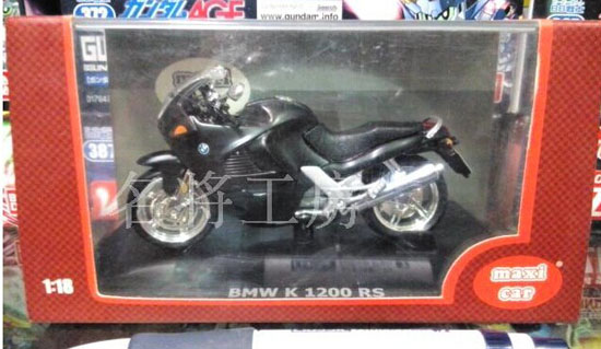 1:18 Scale Black Die-Cast BMW K 1200 RS Motorcycle