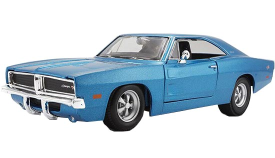 Blue / White 1:25 Scale Maisto Diecast 1969 Dodge Charger R/T