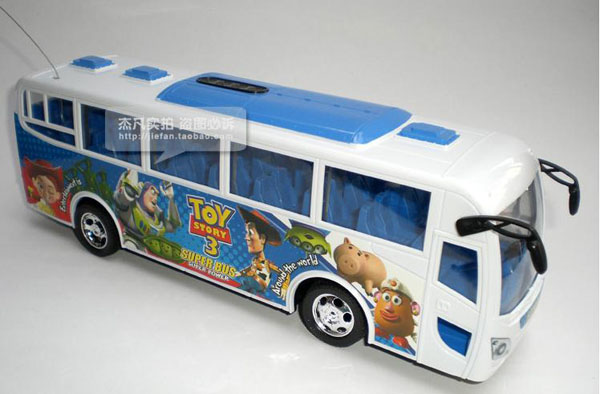 Kids Cartoon Figures Blue / White ABS Plastic Made RC Bus Toy