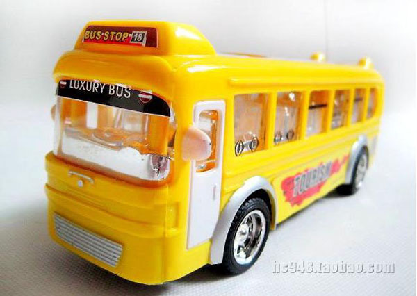 Lights Changed Yellow / Red / Blue Kids RC Tour Bus Toy