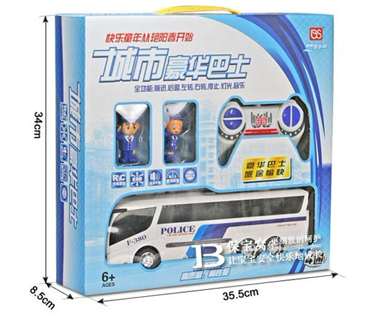 White Police Theme RC Bus With Two Policeman Cartoon Figure