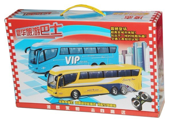 4 Channels ABS Yellow / Blue Kids R/C Tour Bus Toy