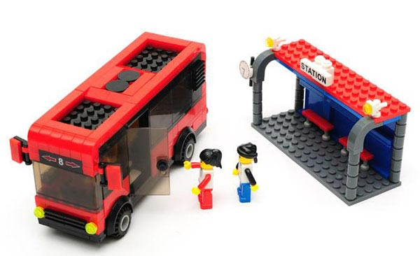 DIY Red Plastic School Bus With Bus Station Assembled
