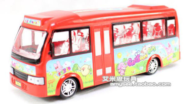 Red Cartoon Style Kids School Bus Toy