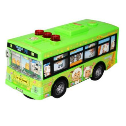 Cartoon Figures Theme Kids Green School Bus