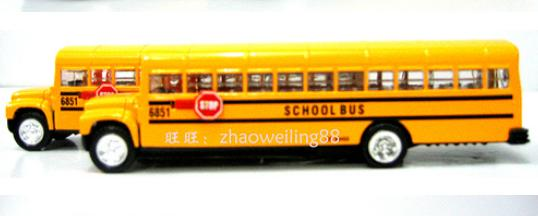 NO.6851 Kids Yellow Alloy Made School Bus Toy