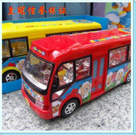 Red /Yellow XiYangyang Theme Kids Cartoon School Bus Toy
