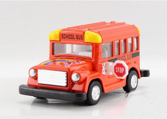 Mini Scale Yellow / Red Kids School Bus Toy