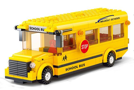 Kids Plastic Toys Gift Package Yellow School Bus Inside