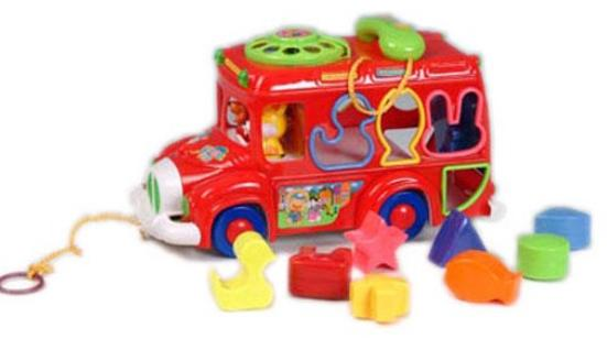 NO.829 Orange / Red / Green Kids Educational Cartoon School Bus