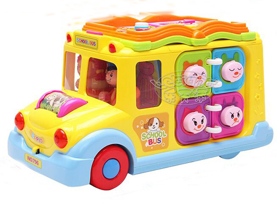 NO.796 Yellow Cartoon Educational School Bus Toy