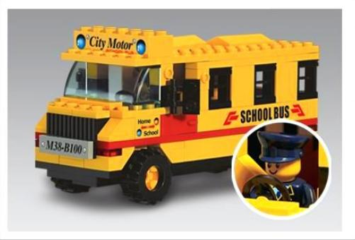 DIY ABS Made Educational Yellow School Bus Toy