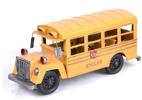 Medium Scale Iron Made Retro Style Yellow School Bus Model