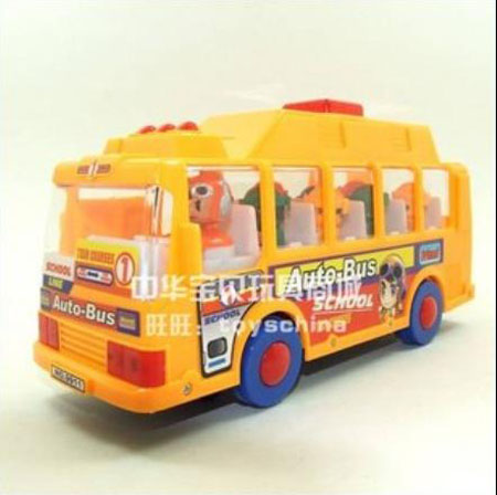 ABS Made Cartoon Music Yellow School Bus Toy