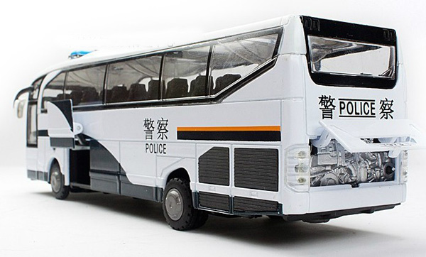 1:50 Scale White Police Bus Theme Five Opening Doors Bus Toy