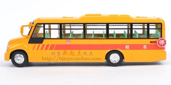 Kids Orange Pull-back Function Chinese Style School Bus Toy