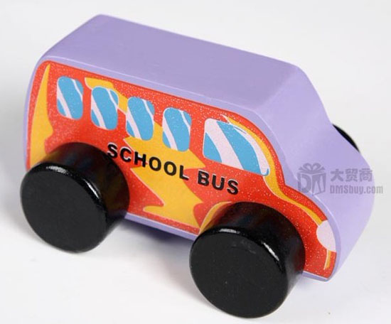 Kids Purple-Orange Wooden School Bus Toy