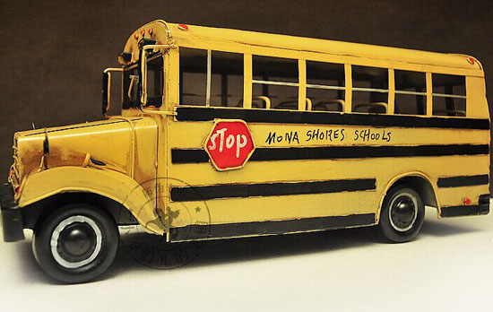 1:12 Large Scale Yellow U.S. Long Nose School Bus Model