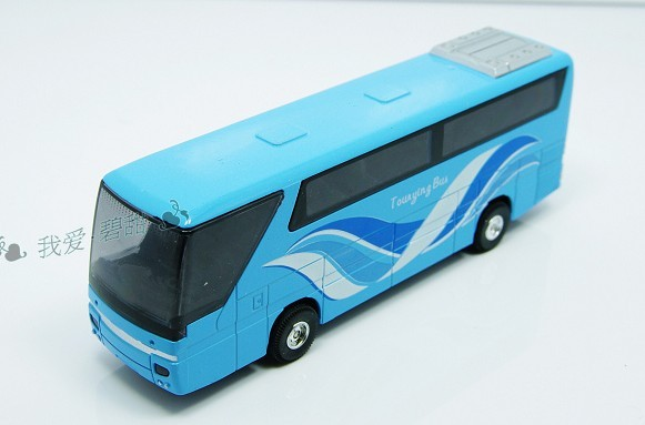 Alloy Made Kids Blue Tour Bus Toy