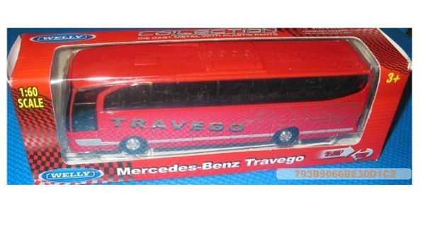 1:60 Scale Red Diecast Mercedes Benz Travego Tour Bus Toy