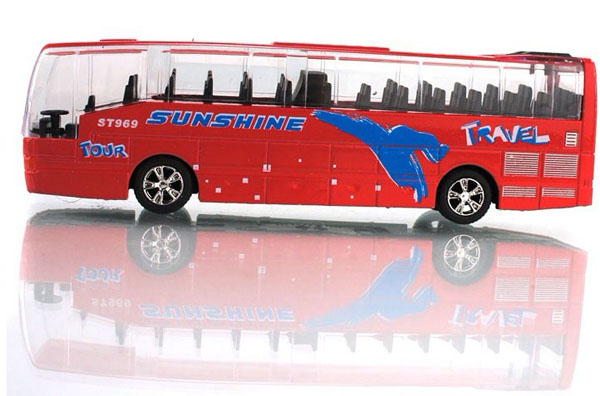 1:70 Scale Red / Blue / Yellow / White Pull-Back Tour Bus