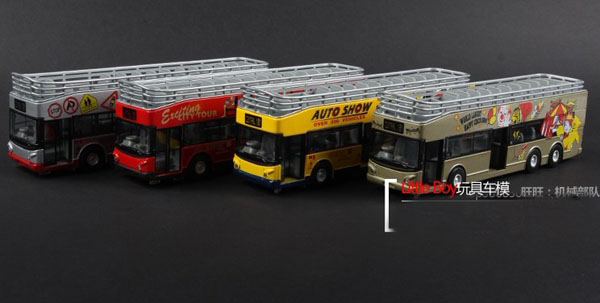 1:32 Red / Yellow / Gray / Silver Double-Decker Cabrio Tour Bus