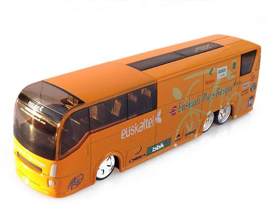 1:50 scale orange Tour de France bus model