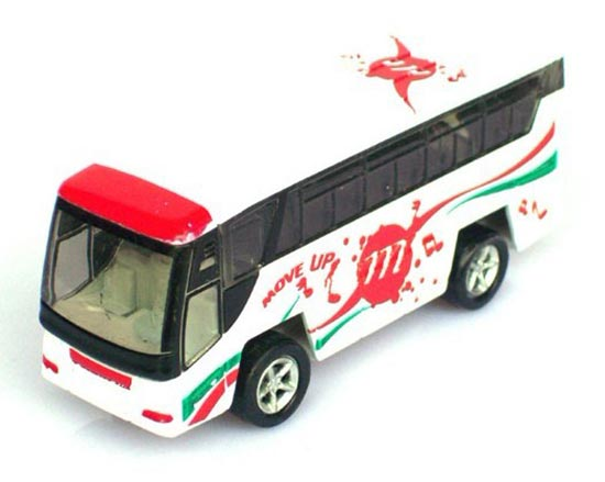 Pull-back Function Mini Scale White-red Kids Tour Bus Toy
