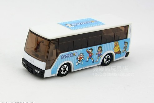 1:160 Mini Scale White-Blue TOMY Doraemon Tour Bus Toy
