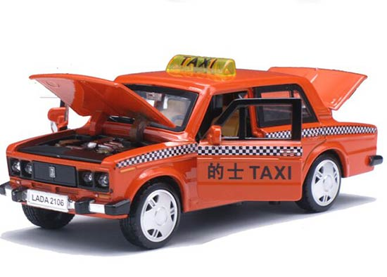 1:32 Scale Kids Yellow Pull-back Function LADA Taxi Toy