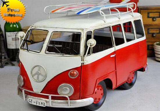 1:10 Large Scale Tinplate Red / Blue Retro Style VW Bus Model