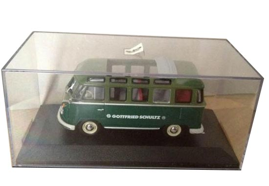 1:43 Scale Diecast Minichamps Green VW T1 Samba Bus Model