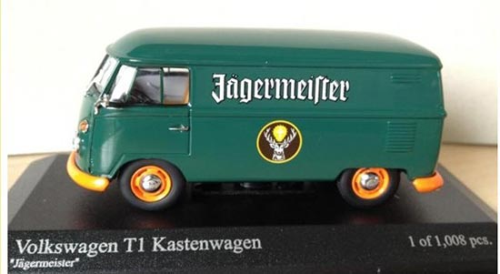 Minichamps 1:43 Diecast Dark Blue VW Bus T1 Jagermeister 1963