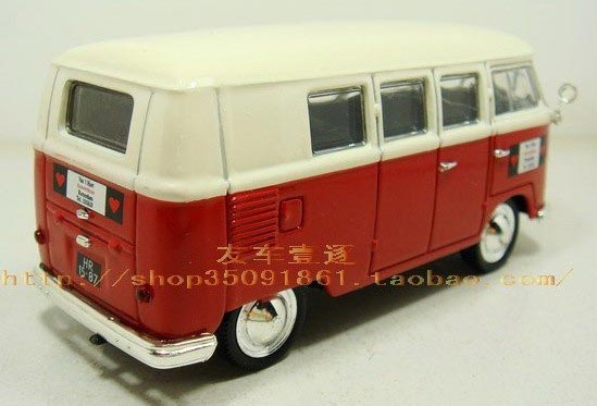 1:43 Scale Diecast White-Red VW T1 Toy Bus Model